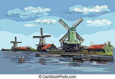 オランダ, ベクトル, 図画, 手, カラフルである, 2