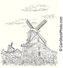 オランダ, ベクトル, 図画, 手, 3
