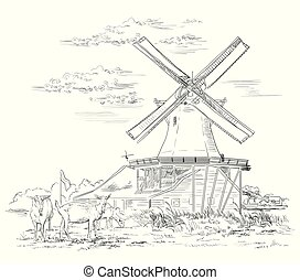 オランダ, ベクトル, 図画, 手, 4