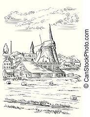 オランダ, ベクトル, 図画, 手, 5