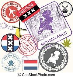 オランダ, 旅行, -, アムステルダム, netherlands, セット, 旅行, スタンプ, シンボル