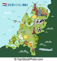 オランダ, 旅行, 文化, ポスター, 地図