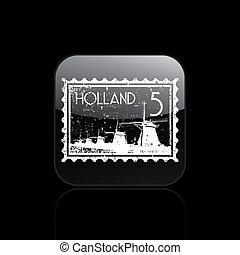 オランダ, 隔離された, イラスト, 単一, ベクトル, アイコン