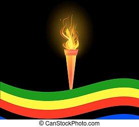 オリンピック, トーチ, 旗