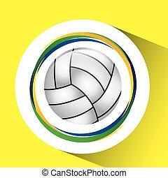 オリンピック, ボールゲーム, 旗, バレーボール