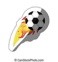 オリンピック, ボール, カラフルである, ステッカー, 炎, サッカー