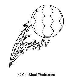 オリンピック, ボール, grayscale, 炎, サッカー, 輪郭
