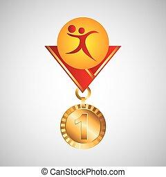 オリンピック, メダル, 金, バレーボール, アイコン