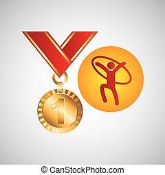オリンピック, 金, 体操, 芸術的, リング, メダル