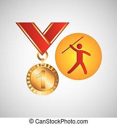 オリンピック, 金, 投げ槍, メダル, 投球, アイコン
