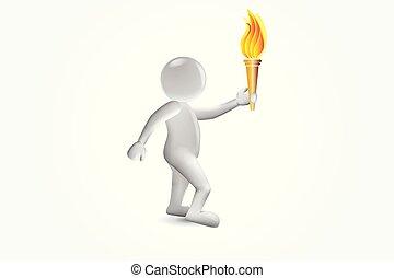 オリンピック, 3d, ゲーム, 炎, 人