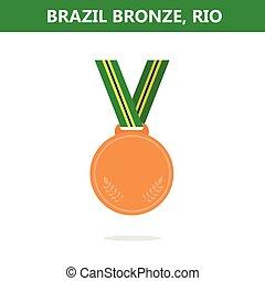 オリンピック, medal., illustration., ベクトル, ゲーム, 2016., brazil., rio., 銅