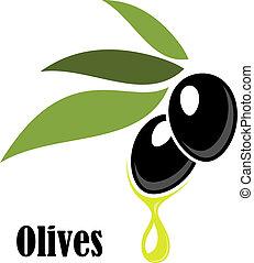 オリーブ, オイル, 熟した, 黒, 小枝, 葉が多い