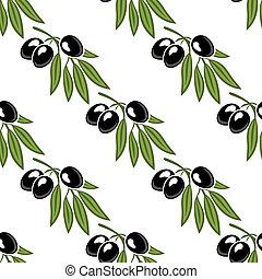 オリーブ, パターン, 葉が多い, seamless, ブランチ