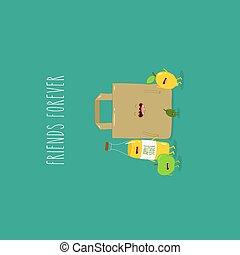 オリーブ, ペーパー, illustration., forever., アップル, レモン, ベクトル, sider, 友人, 袋