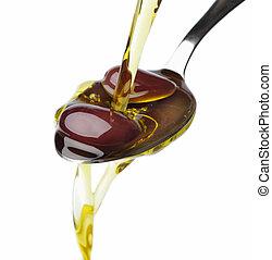 オリーブ, 下に, たたきつける, オリーブ油