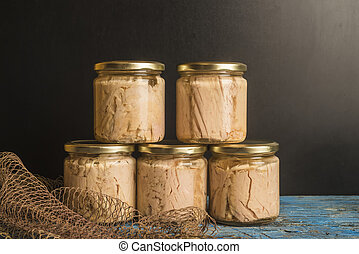 オリーブ, 缶詰にされる, マグロ, オイル, ジャー