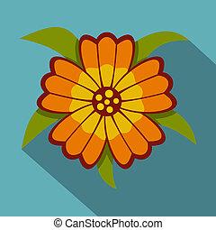 オレンジの花, アイコン, 平ら, スタイル