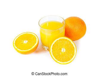 オレンジジュース, ∥で∥, オレンジ, 隔離された, 白