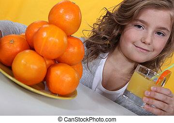 オレンジジュース, 女の子, ガラス
