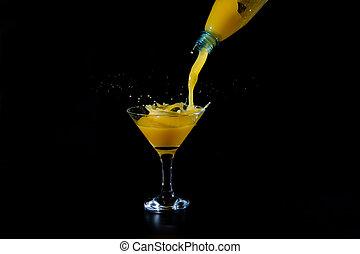 オレンジジュース, 注がれた, びん