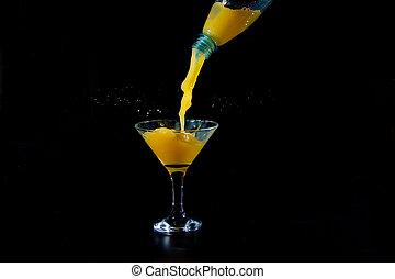 オレンジジュース, 注がれた, びん, プラスチック