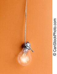 オレンジライト, 白熱, 背景, 電球