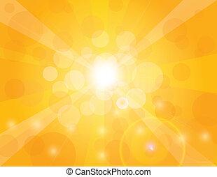 オレンジ太陽, 光線, 背景, イラスト