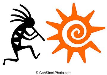 オレンジ太陽, kokopelli, 黒