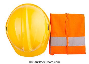 オレンジ色のベスト, 堅い 帽子, 黄色