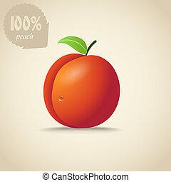 オレンジ, かわいい, 桃, イラスト
