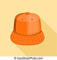 オレンジ, アイコン, スタイル, 帽子, 平ら