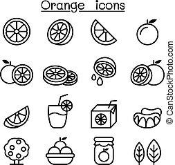 オレンジ, アイコン, セット, 中に, 薄いライン, スタイル