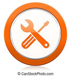 オレンジ, アイコン, 道具, サービス, 印
