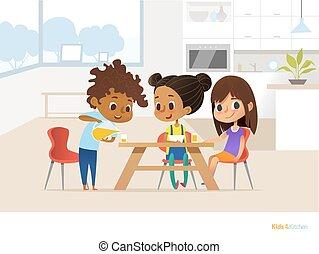 オレンジ, ガラス。, ジュース, 多人種である, 子供, 昼食, ベクトル, 子供, イラスト, 食事をする, モデル, eating., 女の子, テーブル, たたきつける, 旗, website., concept., 準備, 部屋, 2, 男の子, 彼ら自身