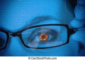 オレンジ, ガラス, 女性の目, 身に着けていること