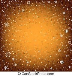 オレンジ, クリスマス, 背景, 雪