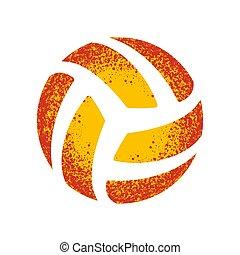 オレンジ, グランジ, シルエット, バレーボール