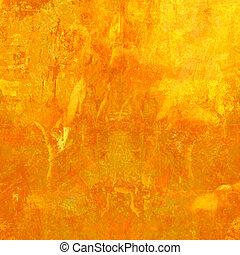 オレンジ, グランジ, 背景, textured