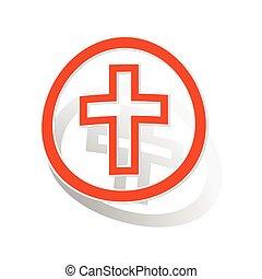 オレンジ, ステッカー, キリスト教徒, 交差点, 印