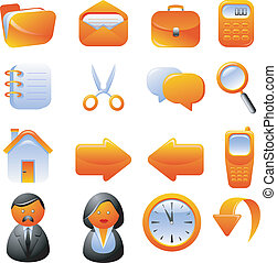 オレンジ, セット, アイコン