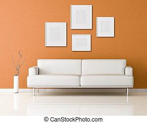 オレンジ, ソファー, リビングルーム, 白