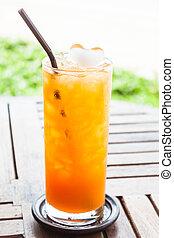 オレンジ, タンジェリン, 生のジュース, 凍らされる, 押された