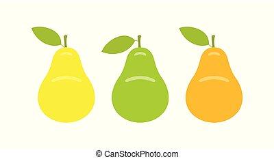オレンジ, ナシ, 黄色, 緑