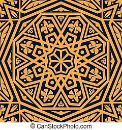 オレンジ, パターン, アラビア, 装飾, アラベスク