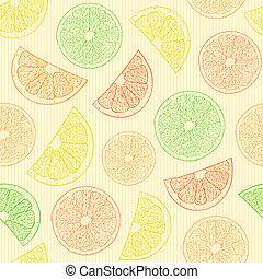 オレンジ, パターン, seamless, 抽象的