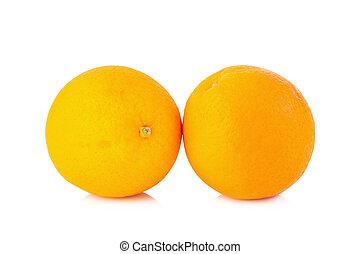 オレンジ, フルーツ, 隔離された, 白