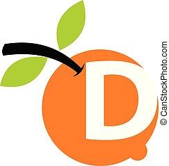 オレンジ, フルーツ, d, 手紙