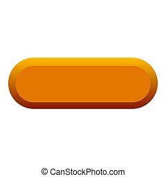 オレンジ, ボタン, アイコン, 平ら, スタイル