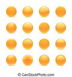 オレンジ, ボタン, ラウンド